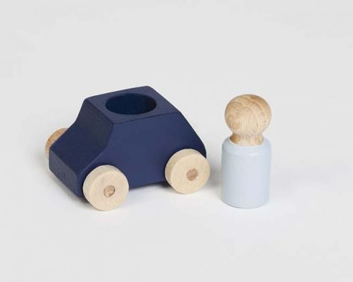 Blue wooden toy car with grey figure, sustainable toy made in Europe Lubulona