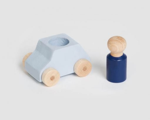 Grey wooden toy car with blue figure, sustainable toy made in Europe Lubulona