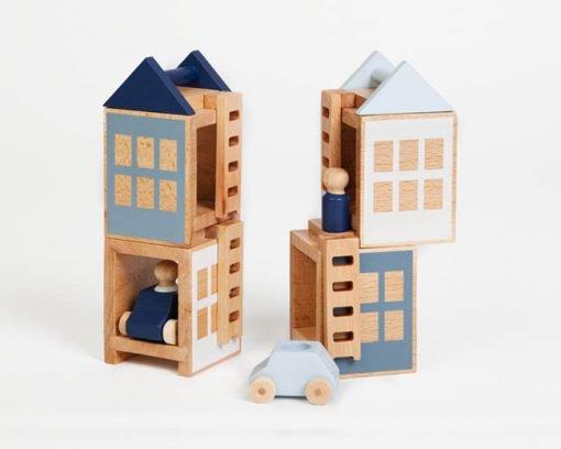 Hochwertiges Konstruktionsspielzeug, Häuser mit Autos und Figuren, Buchenholz, grau-blaues Design Lubulona
