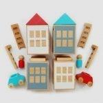 Lubu Town Bauspielzeug-Set, türkis-rot, inspiriert Kreativität und Fantasie, pädagogisch wertvoll Lubulona