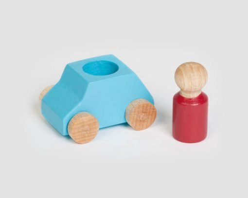 Turquoise wooden toy car with red figure, sustainable toy made in Europe Lubulona