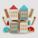 Lubu Town Pack Summerville Red-Turquoise: Natural Beech Wood Toy Set, Inspires Imagination Lubulona