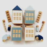 Wooden construction toy Lubu Town Winterburg Pack grey-blue: natural beech wood toy set, Inspires Imagination Lubulona