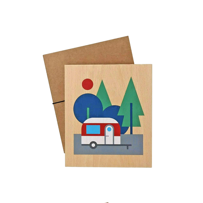 illustration on wood (caravan)