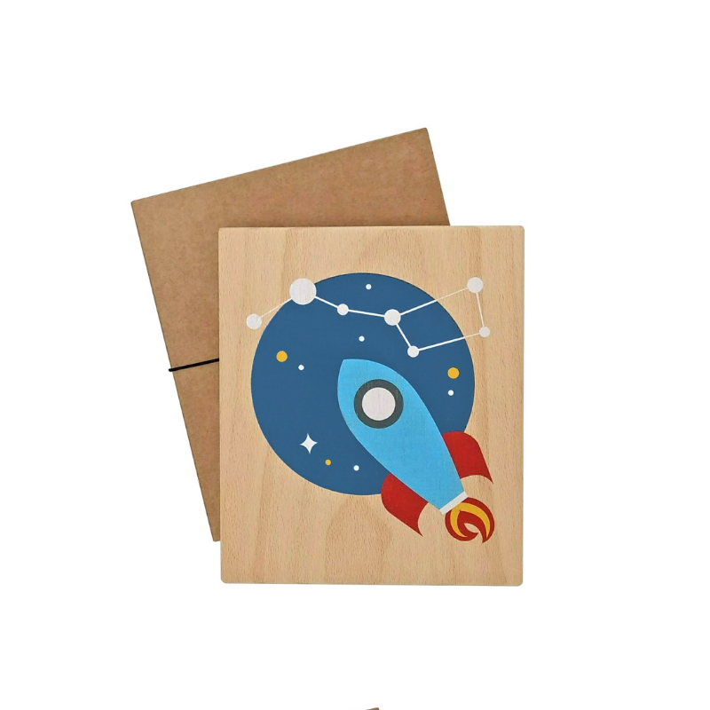 illustration on wood (rocket)