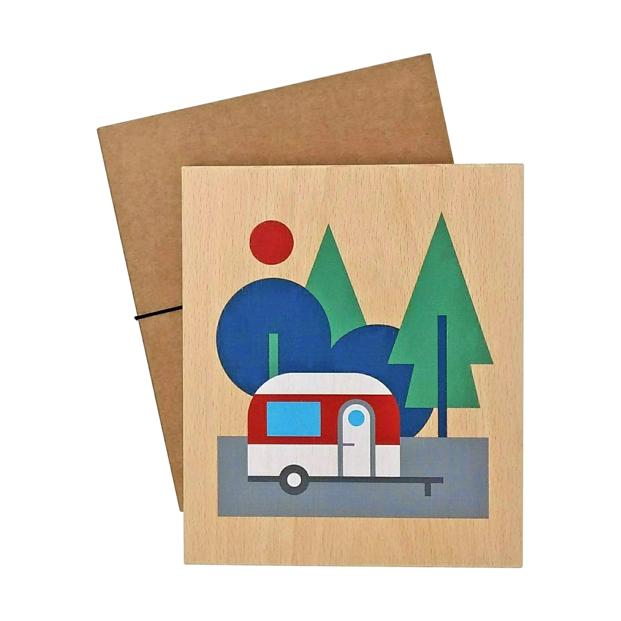 illustration on wood (caravan)