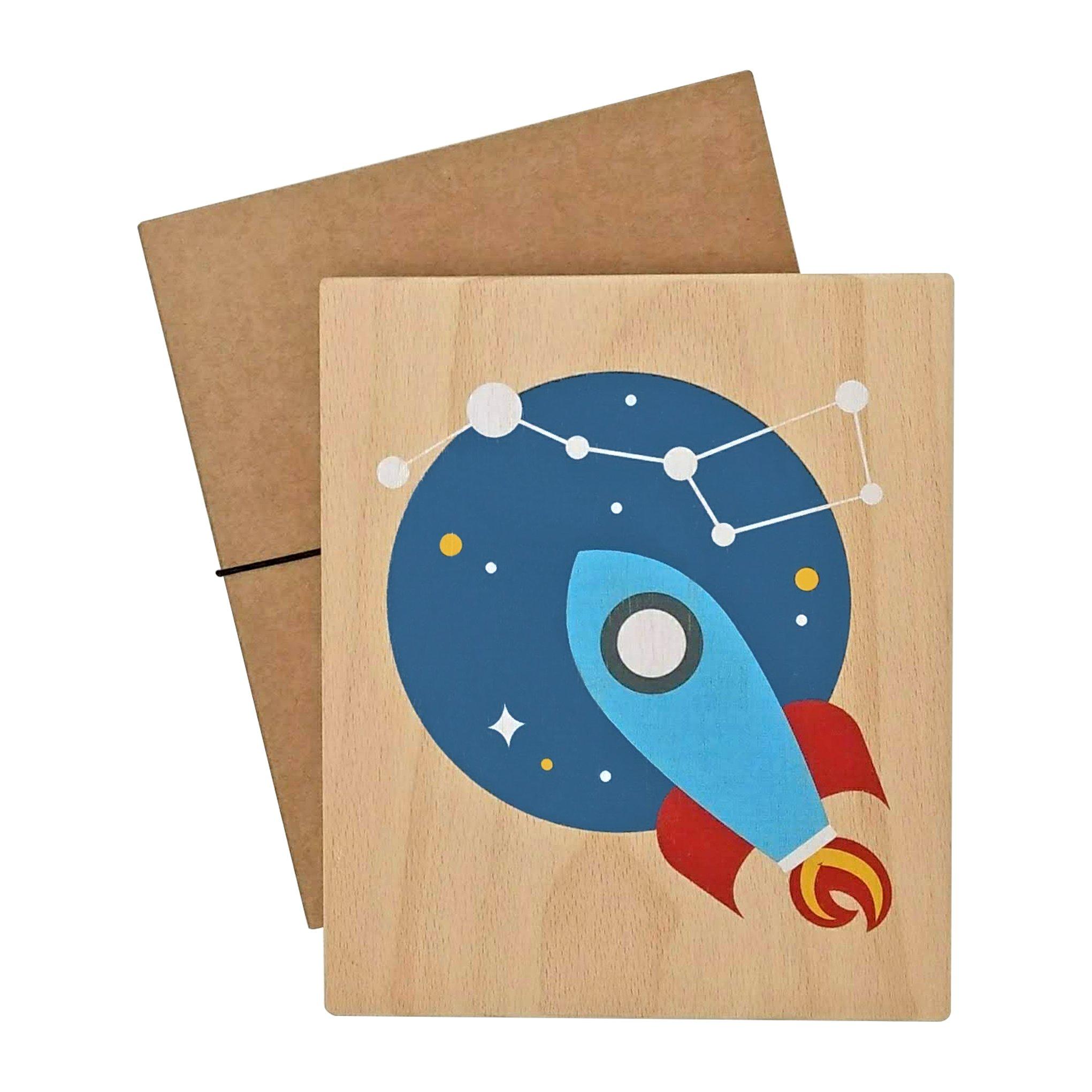 illustration on wood (rocket)