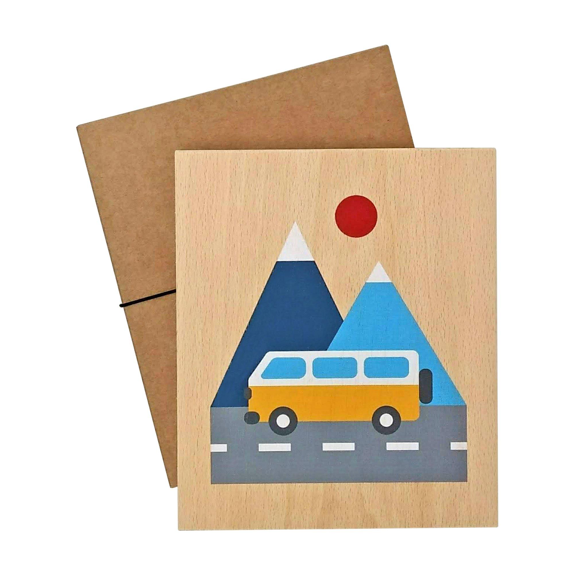 illustration on wood (van)