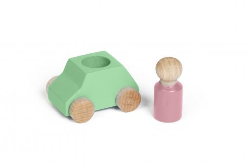 Green wooden toy car with pink figure