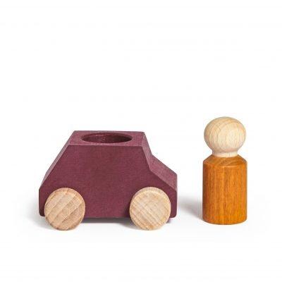 Lubulona Wooden Car Plum with figure