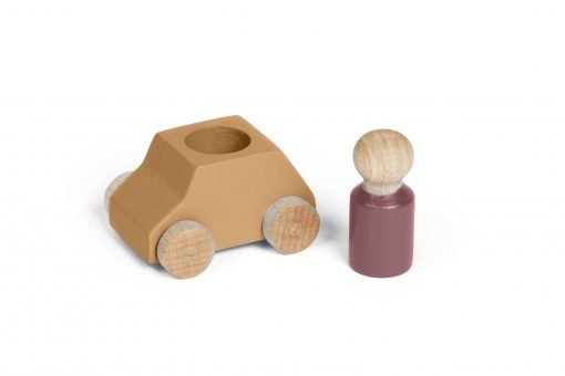 Ochre wooden toy car with purple-brown figure