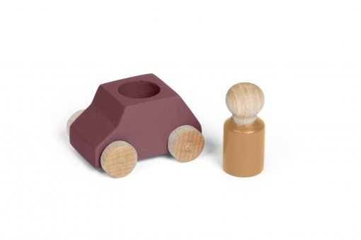 Purple-brown toy wooden car with ochre figure