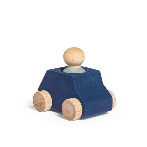 Lubulona Wooden Car Blue with figure with kid
