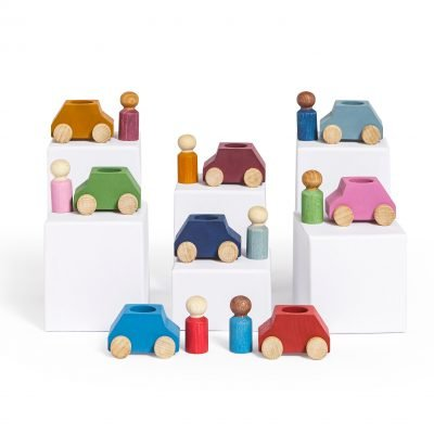 Lubulona Pack 8 wooden cars with figures