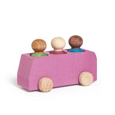 Lubulona Pink Wooden Bus