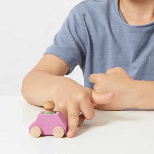 Lubulona Wooden Car Pink with kid
