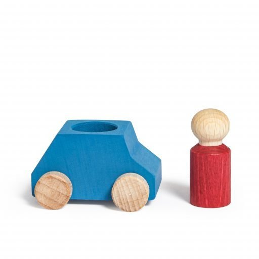Lubulona Wooden Car Sky Blue with figure
